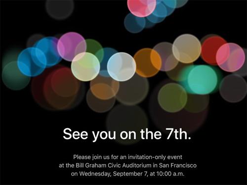 [Apple]                       Apple gửi thư mời sự kiện ra mắt iPhone 7 ngày 7/9                                     729