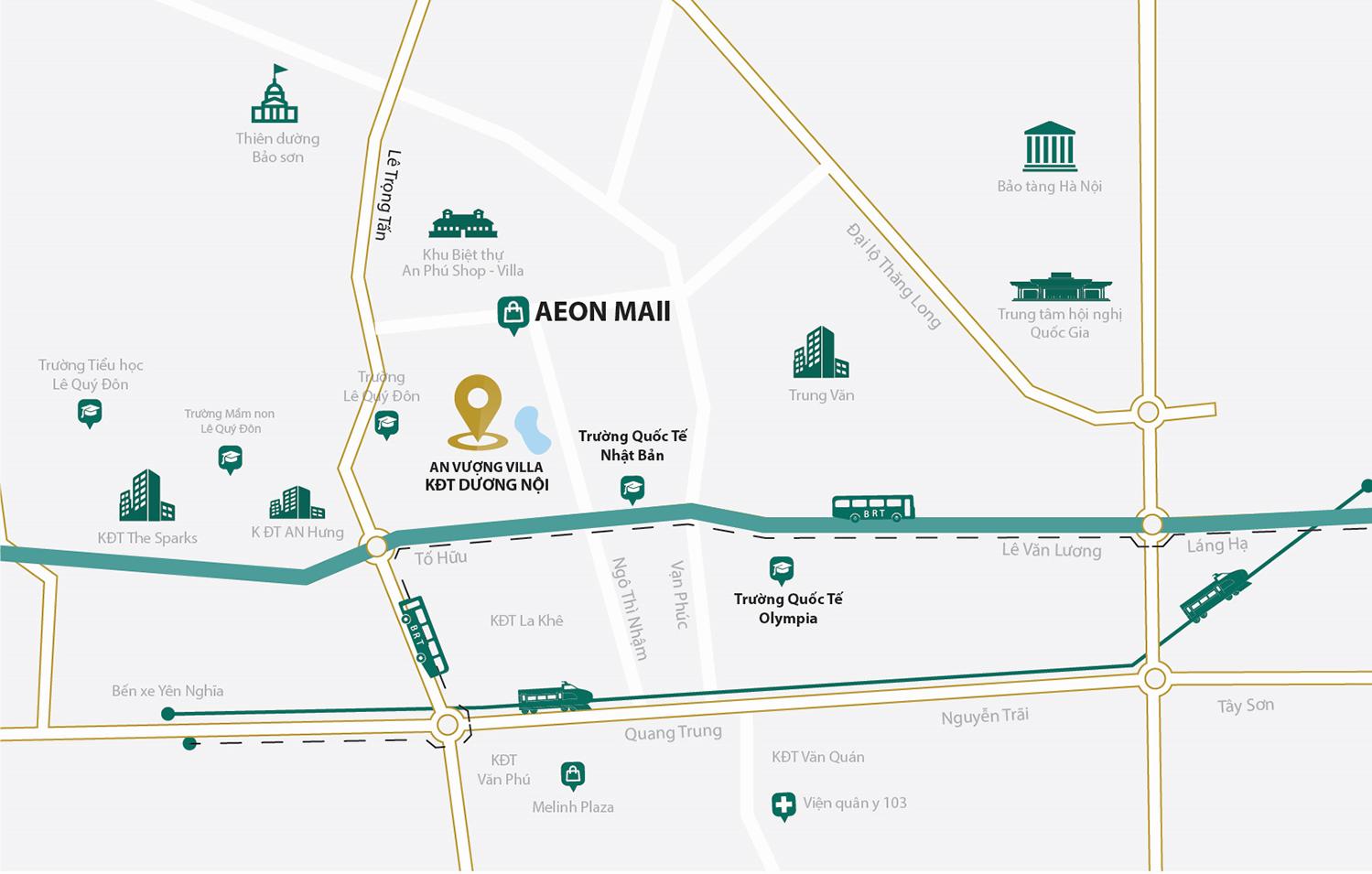 Bản đồ vị trí biệt thự An Vượng Villa Dương Nội